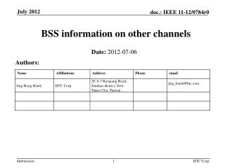 BSS information on other channels