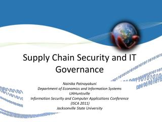 Supply Chain Security and IT  Governance