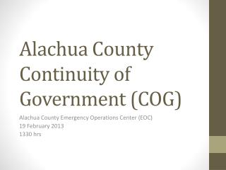 Alachua County Continuity of Government (COG)