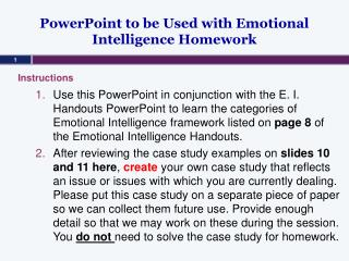 PowerPoint to be Used with Emotional Intelligence Homework