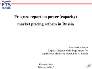 Progress report on power (capacity) market pricing reform in Russia