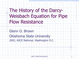 The History of the Darcy-Weisbach Equation for Pipe Flow Resistance