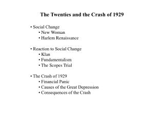 The Twenties and the Crash of 1929