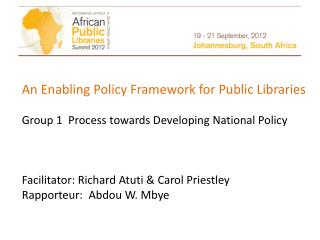 An Enabling Policy Framework for Public Libraries