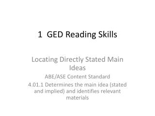 1 GED Reading Skills