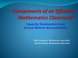 Components of an Effective Mathematics Classroom