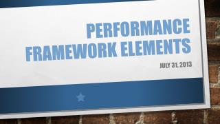 Performance Framework Elements