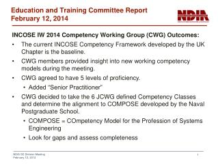 Education and Training  Committee  Report February 12, 2014