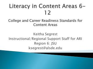 Literacy in Content Areas 6-12