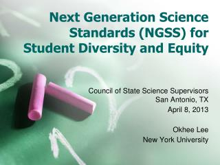 Next Generation Science Standards (NGSS) for Student Diversity and Equity