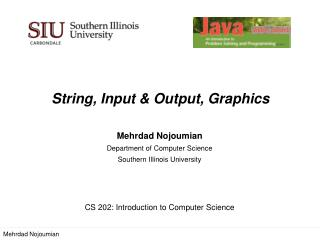 String,  Input & Output, Graphics