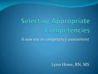 Selecting Appropriate Competencies