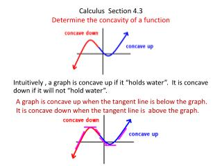 Calculus Section 4.3 Determine the concavity of a function