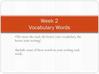 Week 2 Vocabulary Words