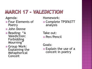 March  17  -  Valediction