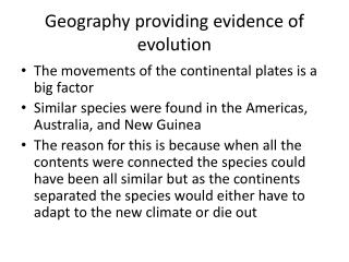 Geography providing evidence of evolution