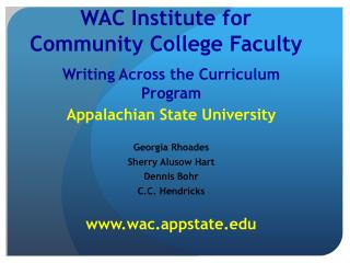 WAC Institute for  Community College Faculty