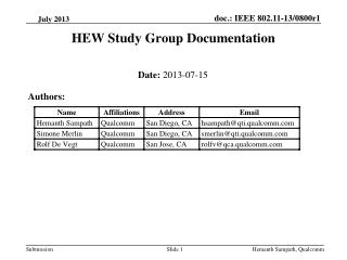 HEW Study Group Documentation