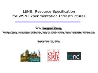 LENS: Resource Specification  for WSN Experimentation Infrastructures