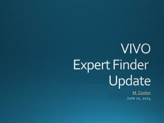 VIVO Expert Finder  Update