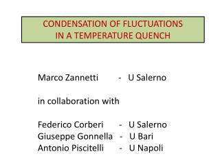 CONDENSATION OF FLUCTUATIONS  IN A TEMPERATURE QUENCH