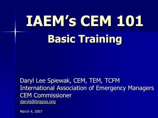 IAEM's CEM 101 Basic Training