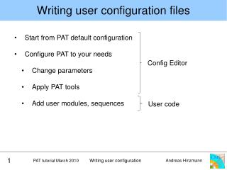Writing  user configuration files