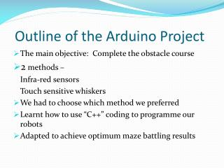 Outline of the  Arduino  Project