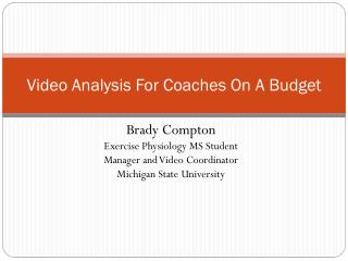 Video Analysis For Coaches On  A  Budget