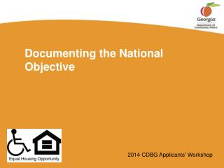 Documenting the National Objective