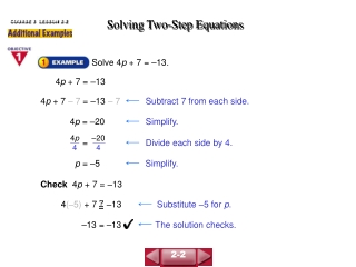 7-2 Solving Two-Step Equations