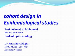 cohort design in Epidemiological studies