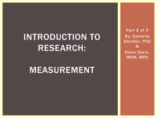 Introduction to Research:  Measurement