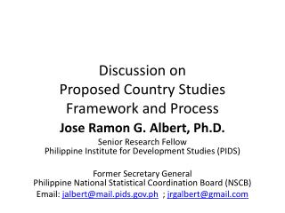 Discussion on  Proposed  Country Studies  Framework and Process