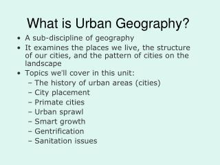 What is Urban Geography?