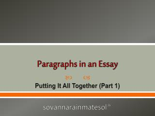 Paragraphs in an Essay
