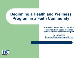 Beginning a Health and Wellness Program in a Faith Community