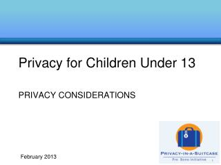Privacy for Children Under 13