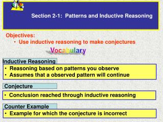 Section  2- 1:  Patterns and Inductive  Reasoning