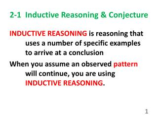 2-1  Inductive Reasoning & Conjecture