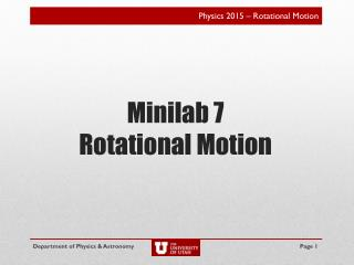 Minilab 7 Rotational Motion