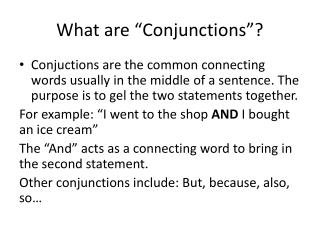 "What are ""Conjunctions""?"