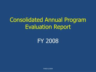 Consolidated Annual Program Evaluation Report FY 2008