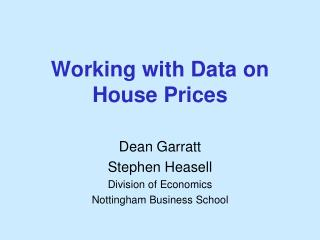 Working with Data on House Prices