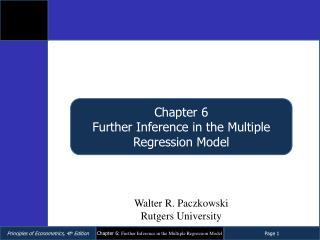 Chapter  6 Further Inference in the Multiple Regression Model