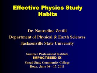 Effective Physics Study Habits