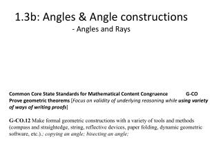 1.3b:  Angles & Angle constructions - Angles and Rays
