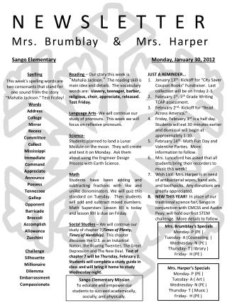 NEWSLETTER Mrs. Brumblay  &  Mrs. Harper