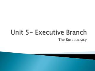 Unit 5- Executive Branch