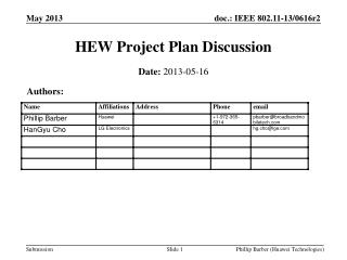 HEW Project Plan Discussion